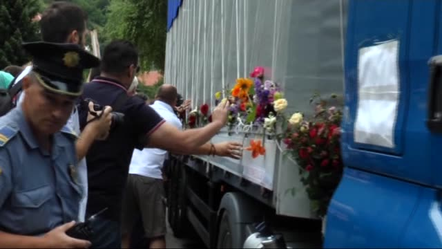 relatives of the srebrenica genocide victims mourn in visoko bosnia and herzegovina on july 09 2015 as trucks carrying newly identified victims begin... - yugoslav wars stock videos & royalty-free footage