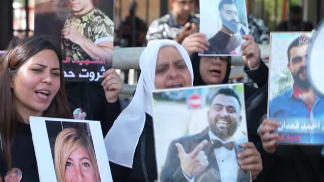 relatives of those killed in beirut's august 4 port blast demand parliamentary immunity be lifted for former ministers wanted for questioning in a... - politician stock videos & royalty-free footage