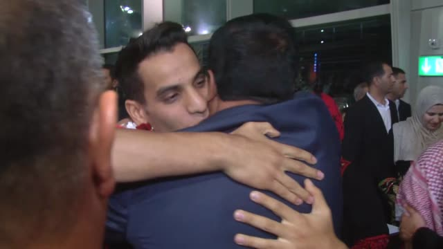 Relatives welcomes Ahmed Abughaush who won the men's 68kg taekwondo competition at the Olympics in Rio de Janeiro to take home Jordan's first Olympic...