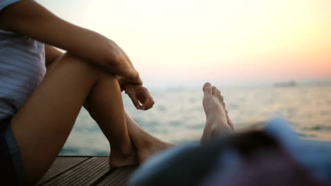 relaxation by the sea - jetty stock videos & royalty-free footage