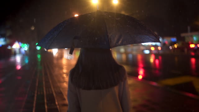 entspannung durchs schöne winternacht - rückansicht stock-videos und b-roll-filmmaterial