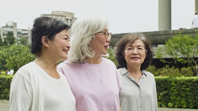 "relaxed chinese women walking together on spring day - xavierarnau or ""xavier arnau serrat"" stock videos & royalty-free footage"