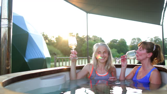 relaxed in the hot tub - outdoors stock videos & royalty-free footage