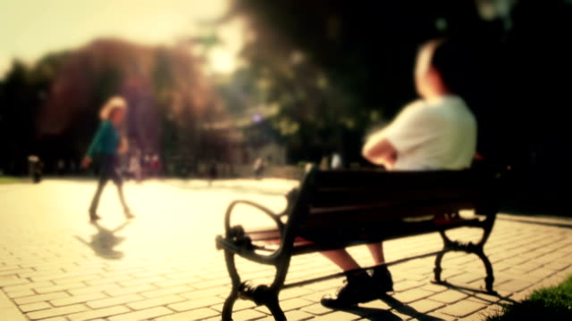 relaxed man - park bench stock videos & royalty-free footage