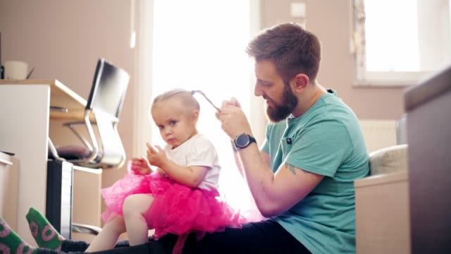 relaxed parenting - hairbrush stock videos & royalty-free footage