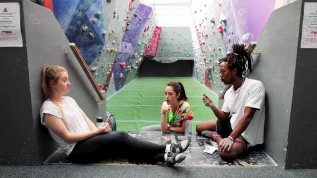 relaxing after climbing wall - protein bar stock videos & royalty-free footage