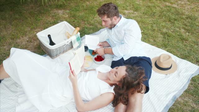 vídeos y material grabado en eventos de stock de relax en el picnic. - cesta de picnic