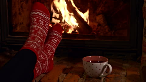 ds relaxing by the fireplace - cozy stock videos & royalty-free footage