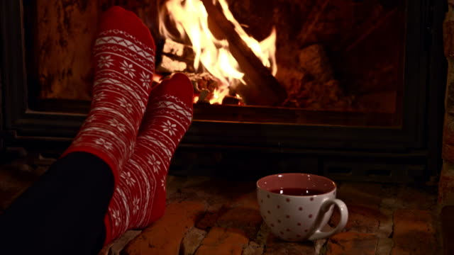 ds relaxing by the fireplace - chalet stock videos & royalty-free footage