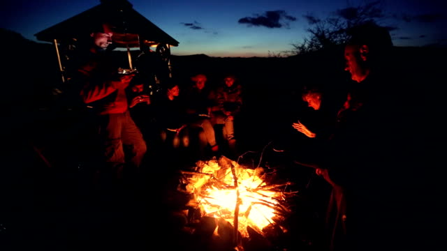 relaxing near campfire - camp fire stock videos & royalty-free footage