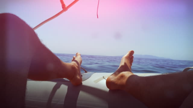 Relaxing point of view on the boat