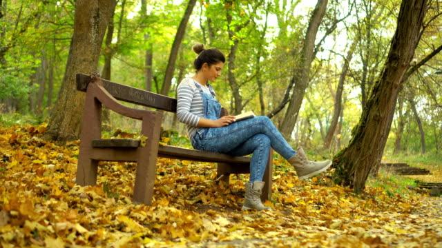 koppla av med en god bok i skogen - hängslen bildbanksvideor och videomaterial från bakom kulisserna