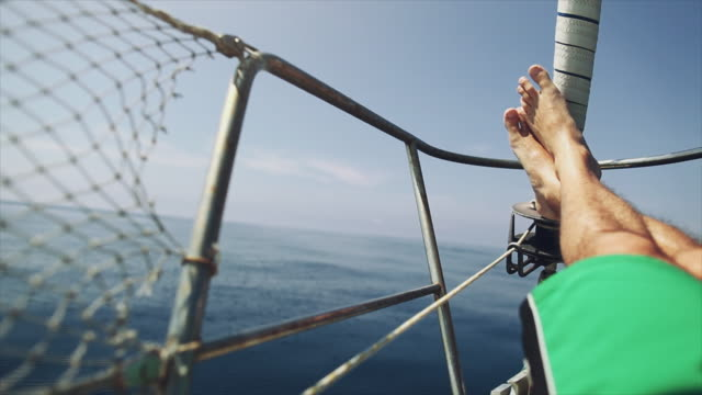 relaxing pov: yacht sailing boat during cruise - gopro stock videos & royalty-free footage