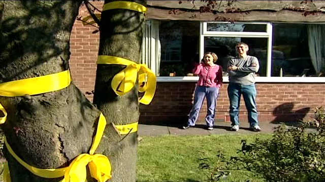 families' reactions yellow ribbon tied around tree outside home of air family and parents standing outside house - societal symbol stock videos & royalty-free footage