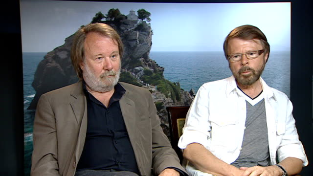 Release of new Abba musical 'Mamma Mia The Movie' INT Bjorn Ulvaeus interview seated next Benny Andersson On how success of Mamma Mia took him...