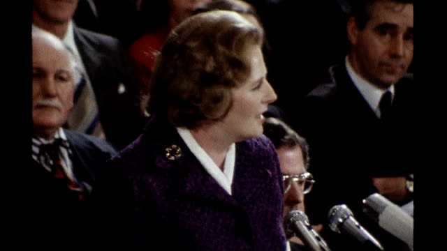 vídeos y material grabado en eventos de stock de released secret papers reveal tensions in late 1970s labour government; s17110602 19.1.1979 margaret thatcher speech during winter of discontent sot... - 1970 1979