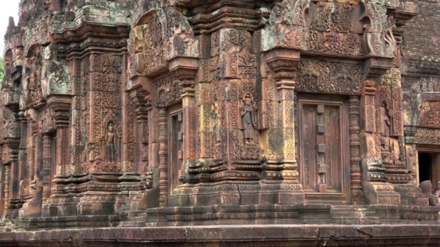 relief carving on khmer hindu temple banteay srei - relief carving stock videos & royalty-free footage