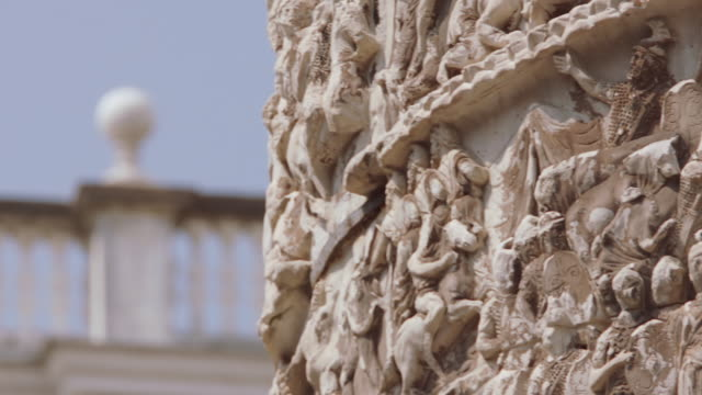 cu pan relief carving on trajan's column / rome, italy - relief carving stock videos & royalty-free footage