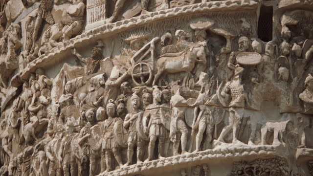 cu relief carving on trajan's column / rome, italy - relief carving stock videos & royalty-free footage