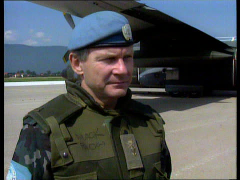 relief operation; nao: bosnia herzegovina: sarajevo french c160 relief plane taxiing on tarmac zoom in cms un armed soldier looking on plane on... - bosnia and hercegovina stock videos & royalty-free footage