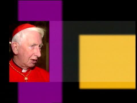 cardinal basil hume ill with cancer lib england london cardinal basil hume along corridor towards past still/graphic cardinal basil hume and comments... - cardinal clergy stock videos and b-roll footage