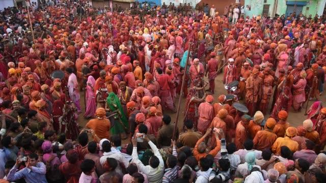Religious festival Lathmar Holi, Nandgaon, India.