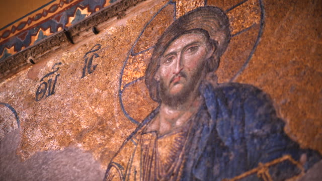 religious fresco in interior of hagia sophia, istanbul, turkey - religion stock videos and b-roll footage