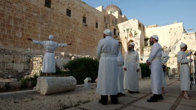 religious jews of the priestly caste kohanim dressed in ceremonial garb and using utensils created especially for use in the third temple by the... - passover stock videos and b-roll footage