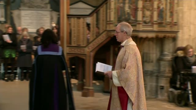 Religious leaders delivier Christmas Day messages ENGLAND Kent Canterbury Cathedral INT The Most Reverend Justin Welby greeting members of...