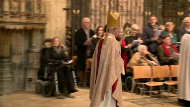 religious leaders delivier christmas day messages england kent canterbury cathedral int the most reverend justin welby greeting members of... - religious service stock videos & royalty-free footage