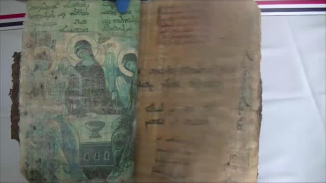 vídeos de stock, filmes e b-roll de a religious motivational book believed to have been written 1400 years ago was seized friday by security forces in southeastern turkey the 36page... - old book