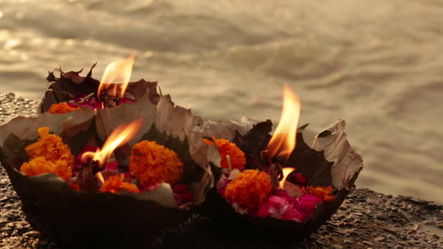 Religious offering at riverbank, Ganges River, Haridwar, Uttarakhand, India
