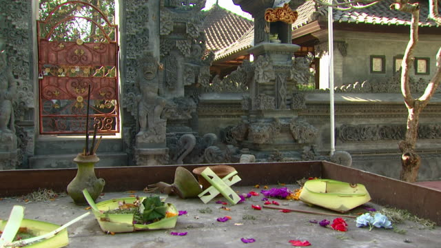 WS Religious offering in front of temple / Bali, Indonesia