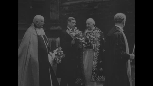 religious procession with king edward viii and bishop carrying bouquets of flowers in ancient custom to ward off plague; they are joined by the... - holy week stock videos & royalty-free footage