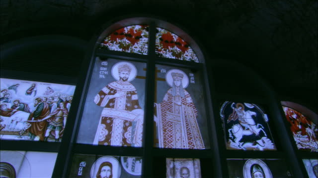 ms zo ws religious stained glass window in underground russian orthodox church, coober pedy, south australia, australia - coober pedy stock videos & royalty-free footage