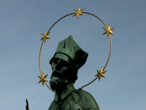 religious statue: saint john of nepomuk, zoom out - male likeness stock videos & royalty-free footage
