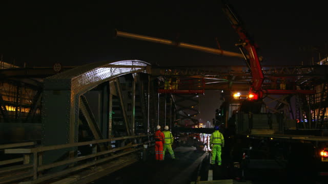 ws relocation of roof beam on a406 north circular / london, england, united kingdom - roof beam stock videos & royalty-free footage