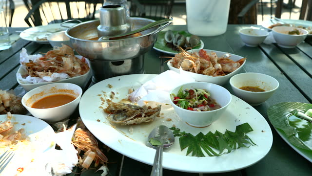 remains of eaten with dirty messy used dishes in a restaurant setting. - garbage stock videos & royalty-free footage