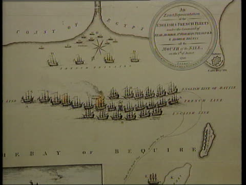 remains of napoleon's fleet defeated by admiral nelson found off egypt itn lt commander rupert nichol pulls out display board showing map of battle... - admiral nelson stock videos and b-roll footage