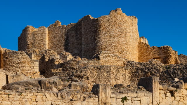 Remains of walls built in Dougga city