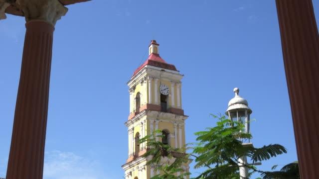 remedios, cuba, colonial catholic church, tilt down - gazebo stock videos & royalty-free footage