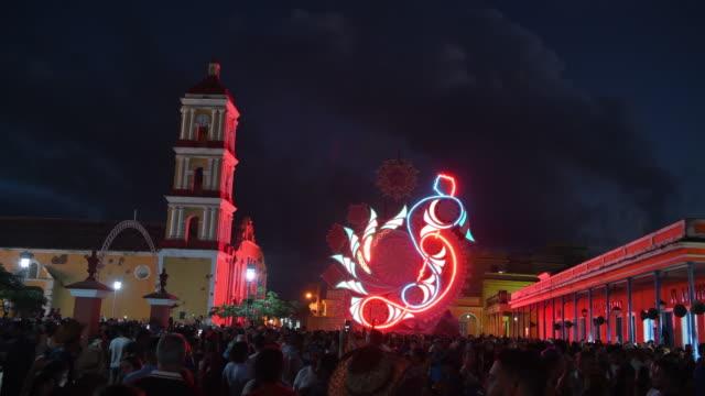 Remedios Cuba: 'Las Parrandas' or Christmas Festival, night scene of the Light Display or 'Trabajo de Plaza'