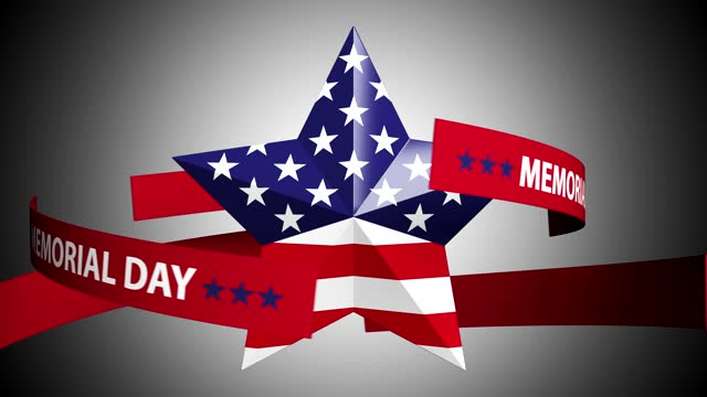remember and honor memorial day.loop turning star with usa flag concept - top hat stock videos & royalty-free footage
