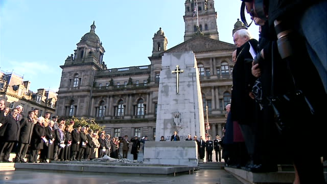 Remembrance Day events Glasgow Remembrance service SCOTLAND Glasgow ITN Nicola Sturgeon MSP at Remembrance Day service in George Square / MS People...