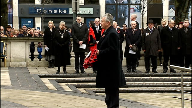 remembrance day events wreath laying in belfast nothern ireland belfast ext gv's of wreath laying at war memorial in belfast including theresa... - remembrance day stock videos & royalty-free footage