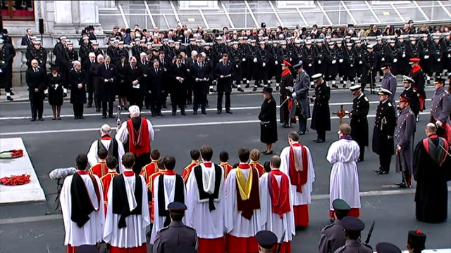 remembrance day service at the cenotaph bishop of london richard chartres leading prayers with members of the royal family and politicians seen... - bishop of london stock videos & royalty-free footage