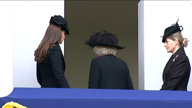 Remembrance Day service at the Cenotaph Queen and members of the Royal Family walking away to applause / Duchess of Cambridge Duchess of Cornwall and...