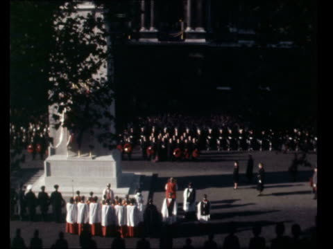 remembrance day service *** also sot *** gv cenotaph service ms royal marine buglers sof last post ms duchess of kent duchess of gloucester queen... - queen dowager stock videos & royalty-free footage