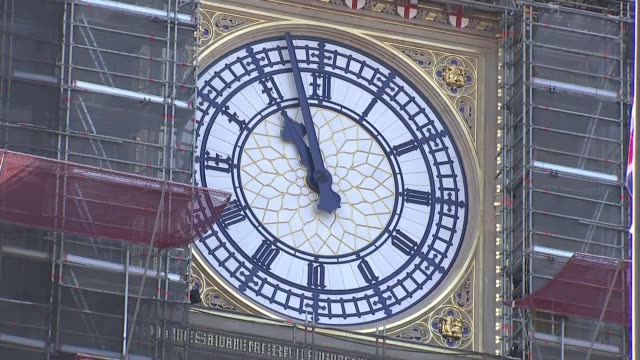 big ben bongs england london westminster sot*** big ben clock face surrounded by scaffolding - big ben stock videos & royalty-free footage