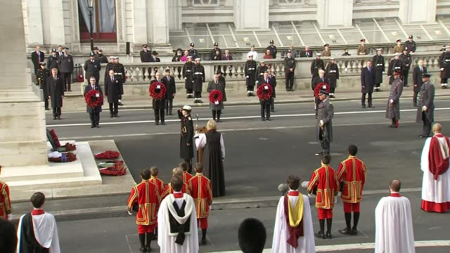 cenotaph remembrance service; england: london: whitehall: cenotaph: ext prince charles, prince of wales lays wreaths at cenotaph at remembrance... - earl of wessex stock videos & royalty-free footage